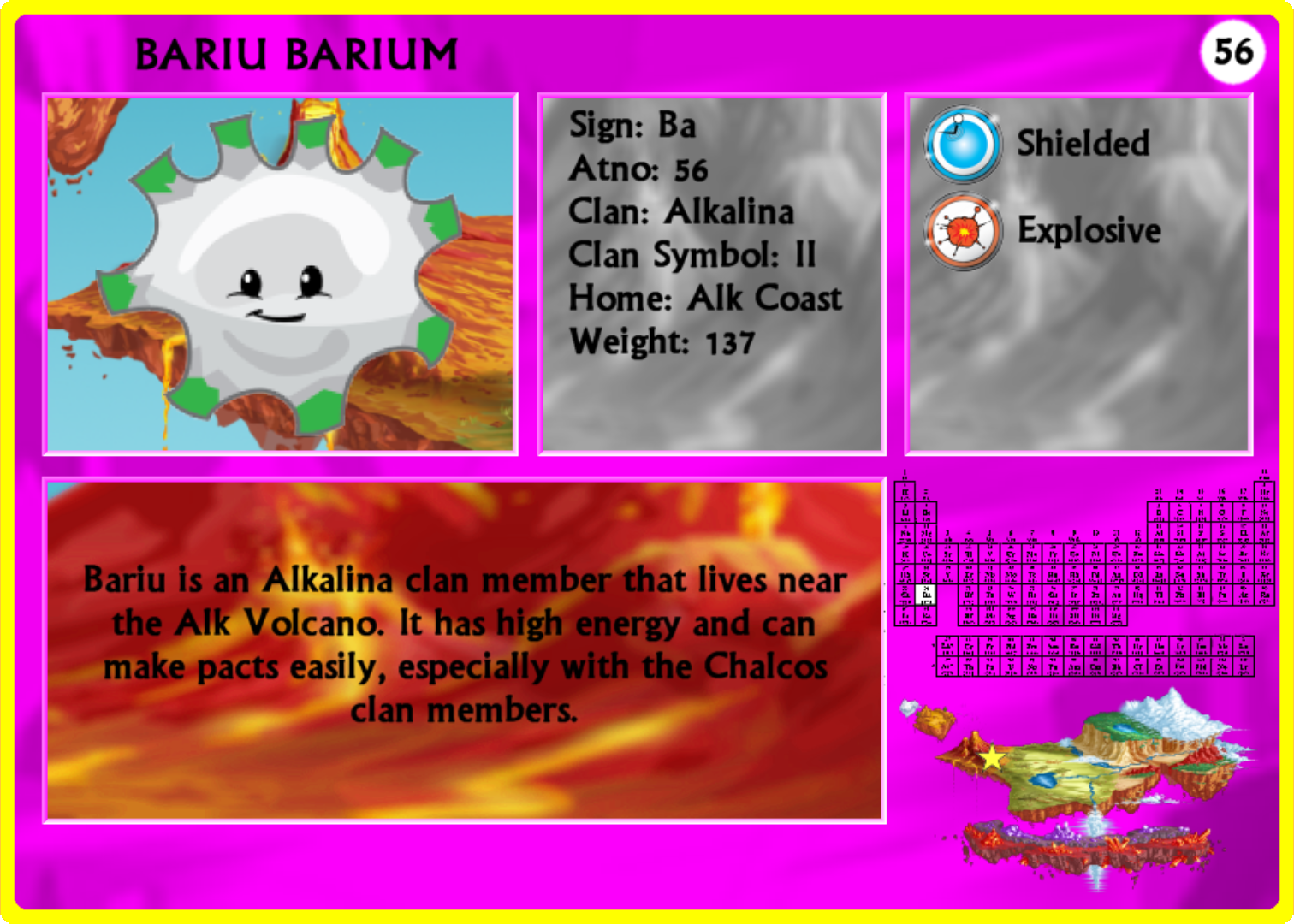 Bariu Barium is a member of the Alkalina clan with an atno of 56. Bariu is not very strong but has explosive powers especially with water and Oxyn. Bariu is poisonous and is rarely seen unless it is teamed up with other Perios.